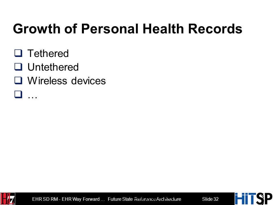 Slide 31 EHR SD RM - EHR Way Forward … Future State Reference Architecture Schools Drug stores Airports … Growth of Points of Care 31 Copyright 2009 S