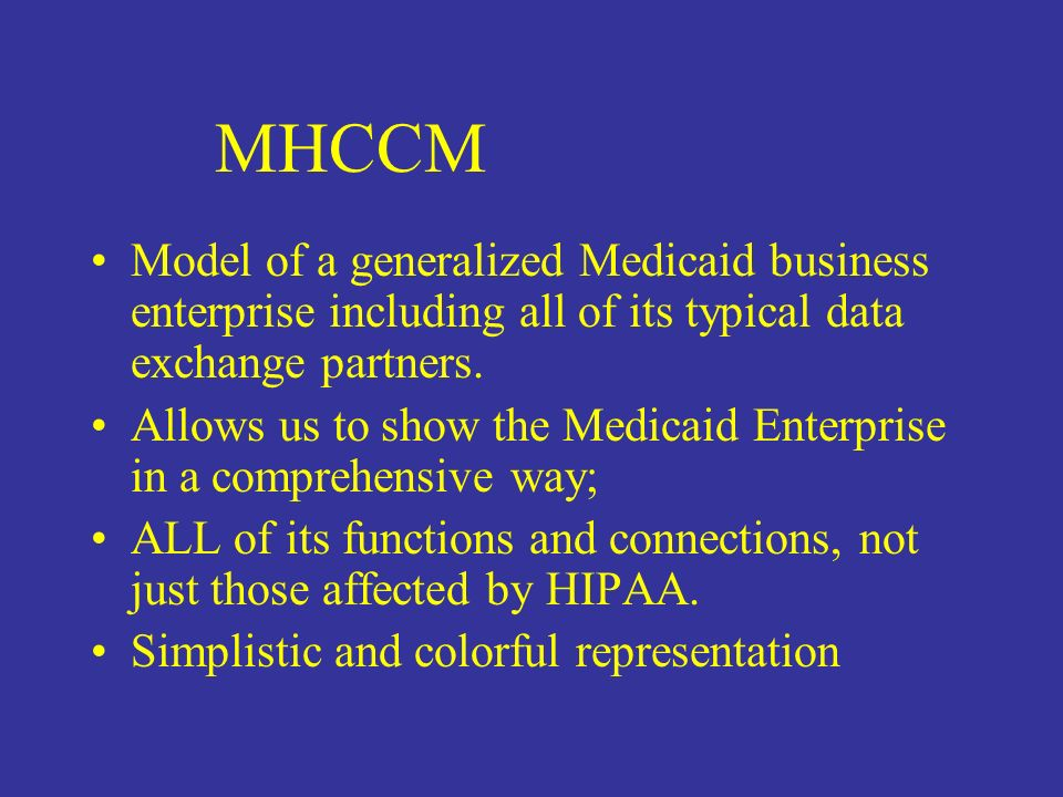 Model of a generalized Medicaid business enterprise including all of its typical data exchange partners.