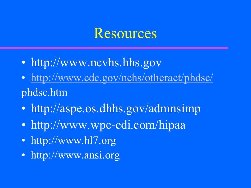 Resources http://www.ncvhs.hhs.gov http://www.cdc.gov/nchs/otheract/phdsc/ phdsc.htm http://aspe.os.dhhs.gov/admnsimp http://www.wpc-edi.com/hipaa http://www.hl7.org http://www.ansi.org