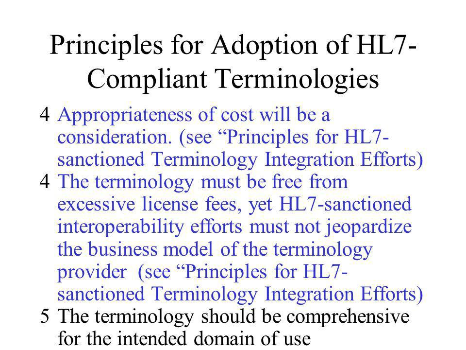 Principles for Adoption of HL7- Compliant Terminologies 4Appropriateness of cost will be a consideration. (see Principles for HL7- sanctioned Terminol