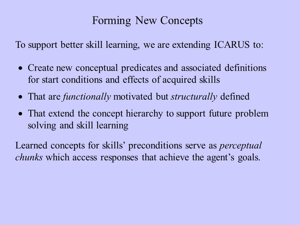 Forming New Concepts Create new conceptual predicates and associated definitions for start conditions and effects of acquired skills That are functionally motivated but structurally defined That extend the concept hierarchy to support future problem solving and skill learning To support better skill learning, we are extending ICARUS to: Learned concepts for skills preconditions serve as perceptual chunks which access responses that achieve the agents goals.
