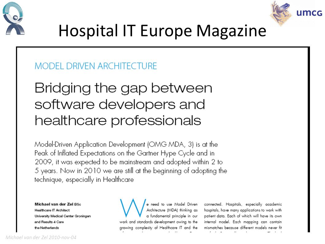 Michael van der Zel 2010-nov-0417 Hospital IT Europe Magazine