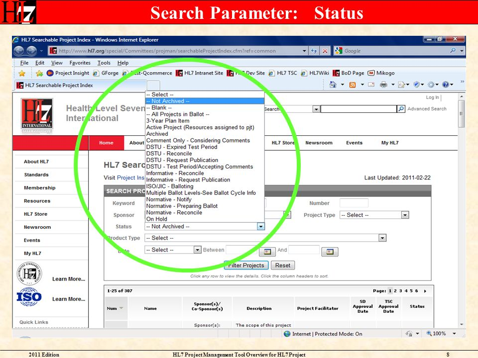 2011 EditionHL7 Project Management Tool Overview for HL7 Project Facilitators 8 Search Parameter: Status