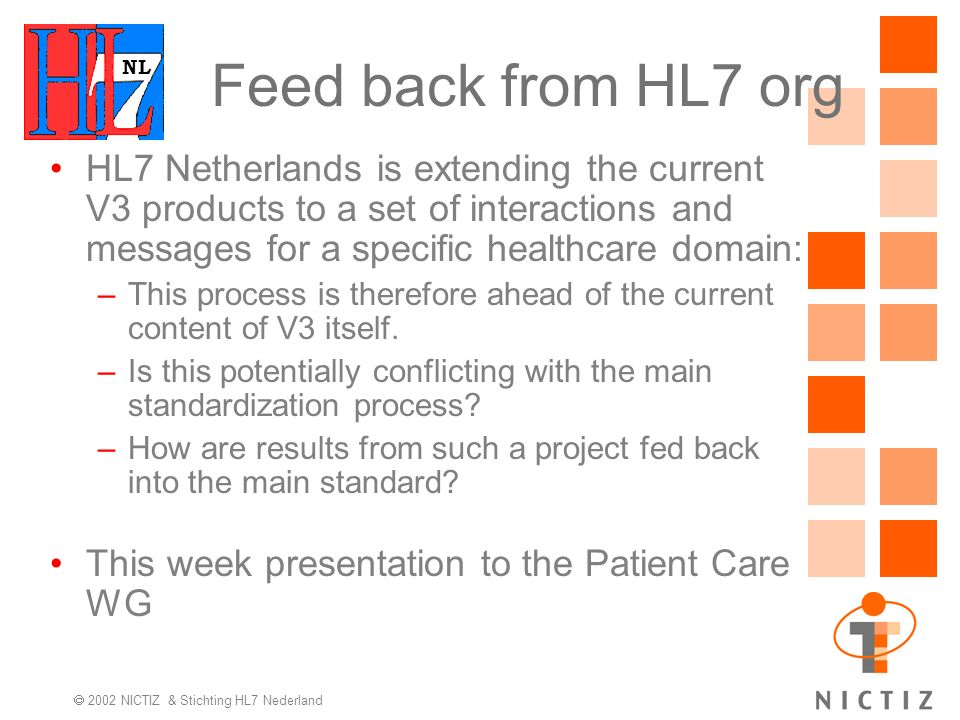 NL 2002 NICTIZ & Stichting HL7 Nederland HL7 Netherlands is extending the current V3 products to a set of interactions and messages for a specific healthcare domain: –This process is therefore ahead of the current content of V3 itself.