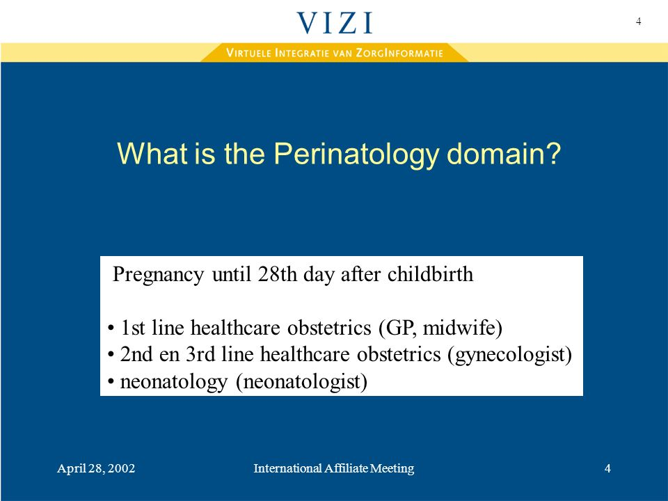 4 April 28, 2002International Affiliate Meeting4 What is the Perinatology domain.