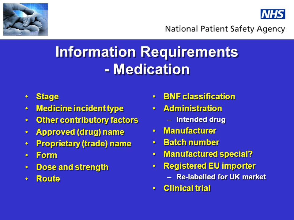 Information Requirements - Medication Stage Medicine incident type Other contributory factors Approved (drug) name Proprietary (trade) name Form Dose and strength Route Stage Medicine incident type Other contributory factors Approved (drug) name Proprietary (trade) name Form Dose and strength Route BNF classification Administration –Intended drug Manufacturer Batch number Manufactured special.