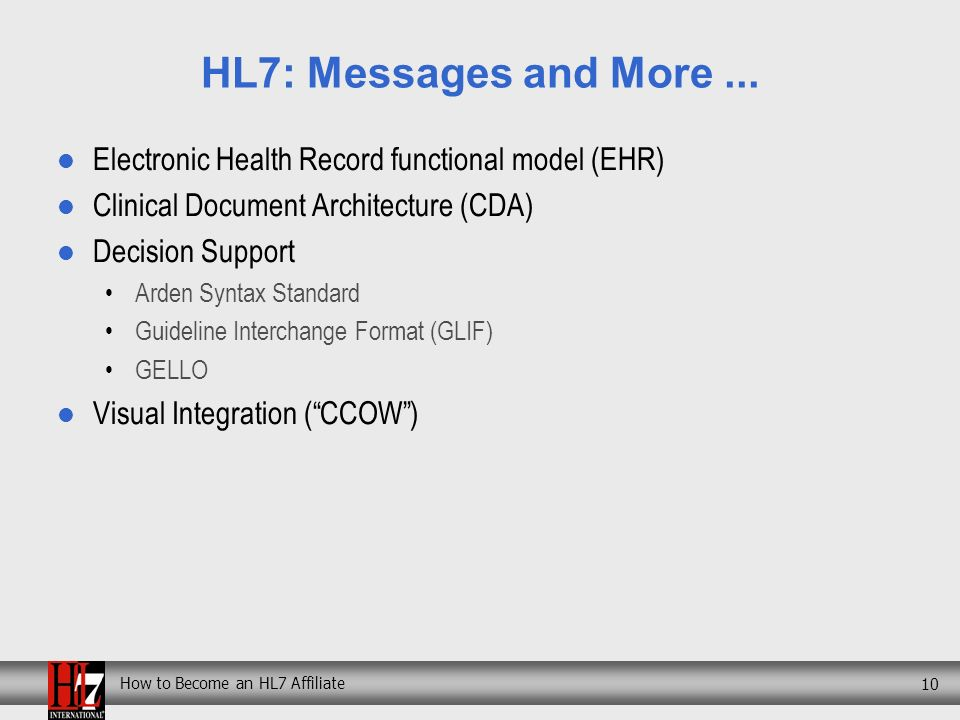 How to Become an HL7 Affiliate 10 HL7: Messages and More...