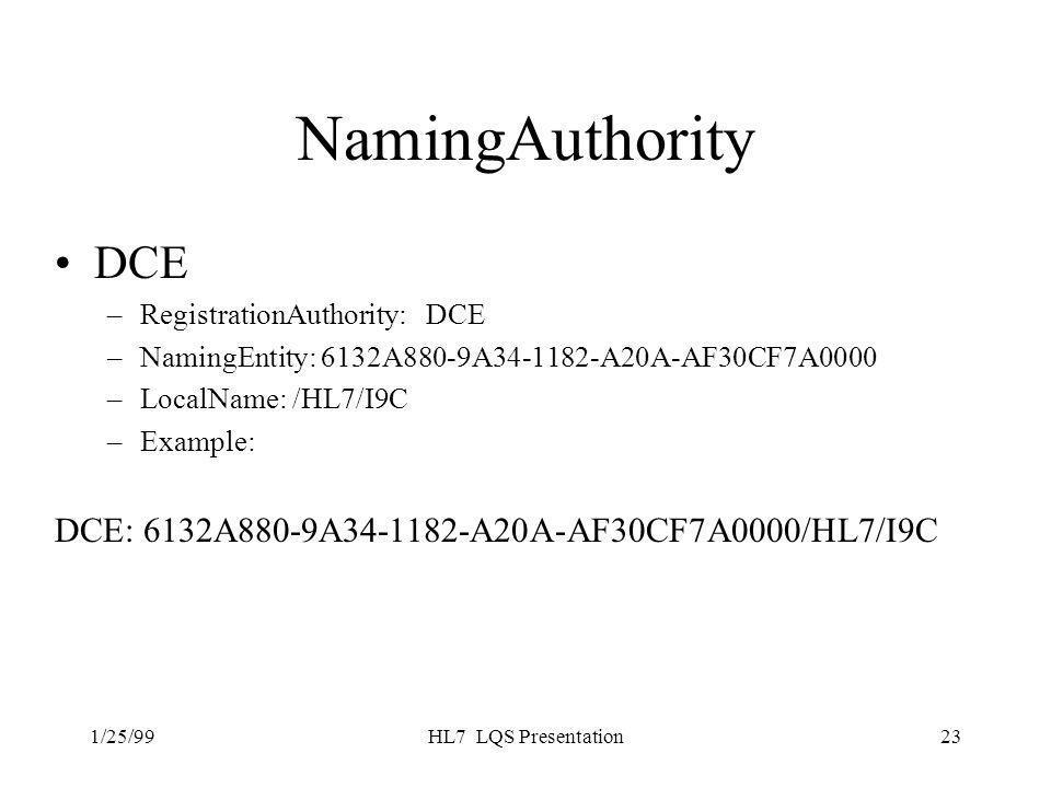1/25/99HL7 LQS Presentation23 NamingAuthority DCE –RegistrationAuthority: DCE –NamingEntity: 6132A880-9A34-1182-A20A-AF30CF7A0000 –LocalName: /HL7/I9C –Example: DCE: 6132A880-9A34-1182-A20A-AF30CF7A0000/HL7/I9C