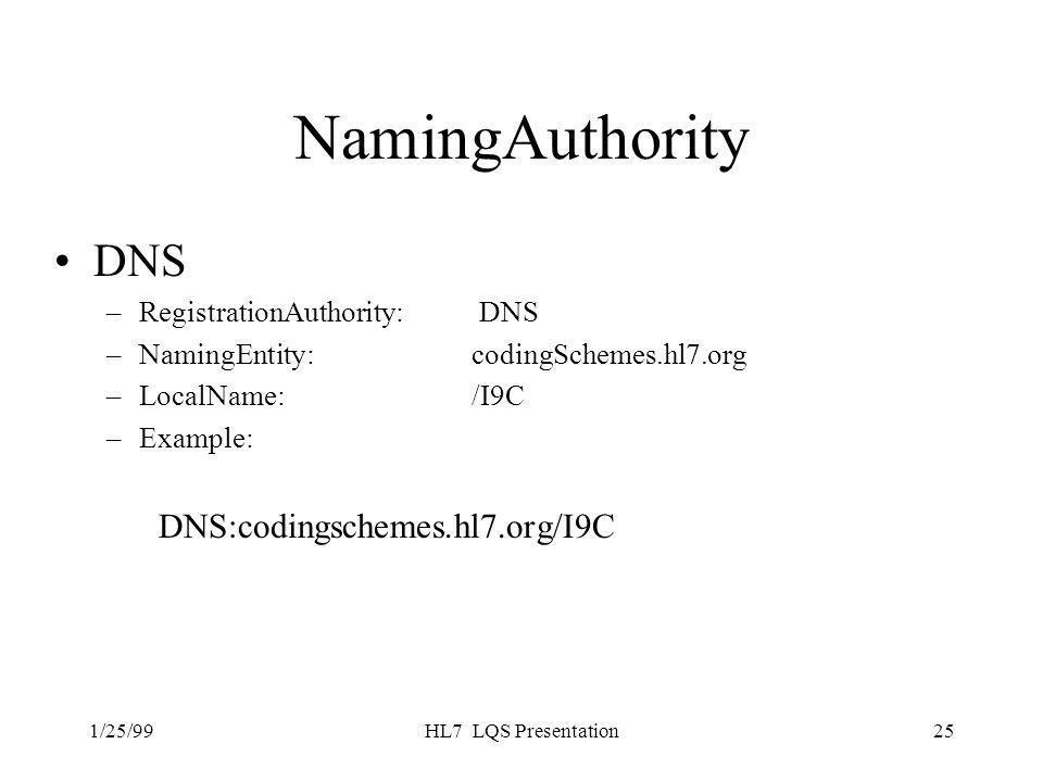 1/25/99HL7 LQS Presentation25 NamingAuthority DNS –RegistrationAuthority: DNS –NamingEntity: codingSchemes.hl7.org –LocalName: /I9C –Example: DNS:codingschemes.hl7.org/I9C