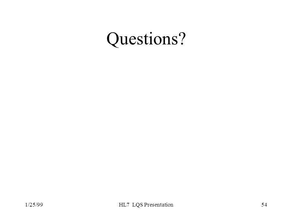 1/25/99HL7 LQS Presentation54 Questions?