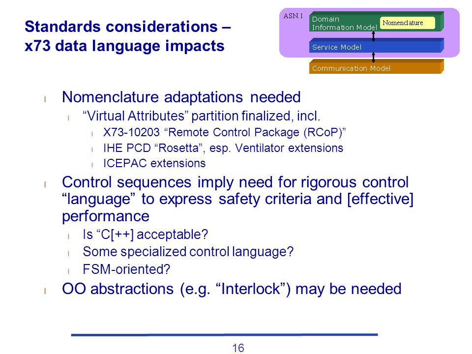 16 Standards considerations – x73 data language impacts l Nomenclature adaptations needed l Virtual Attributes partition finalized, incl. l X73-10203