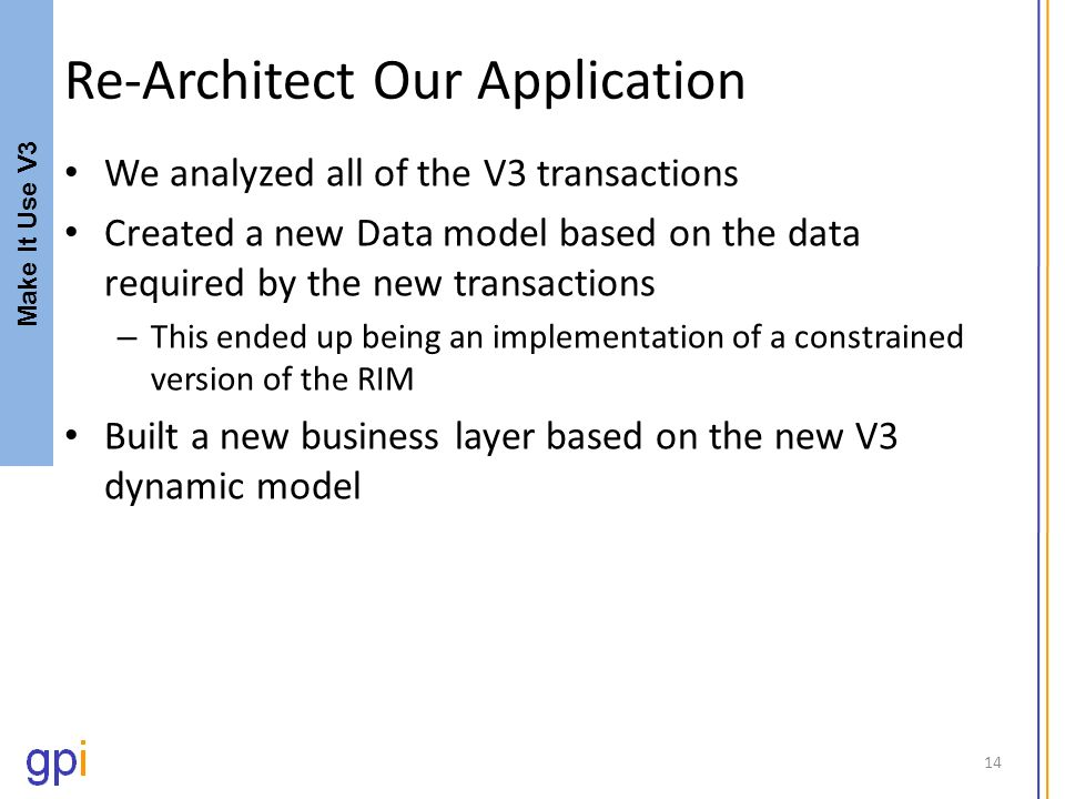 Re-Architect Our Application We analyzed all of the V3 transactions Created a new Data model based on the data required by the new transactions – This