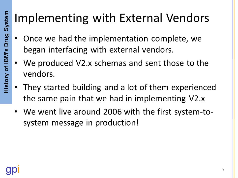 Implementing with External Vendors Once we had the implementation complete, we began interfacing with external vendors. We produced V2.x schemas and s