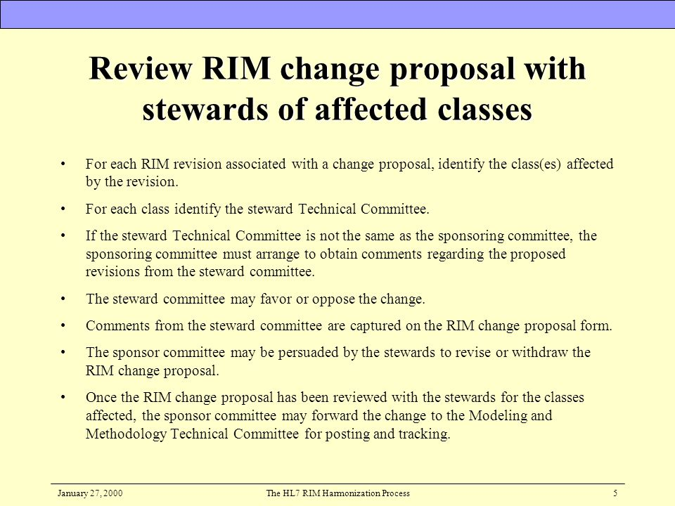 January 27, 2000The HL7 RIM Harmonization Process5 Review RIM change proposal with stewards of affected classes For each RIM revision associated with
