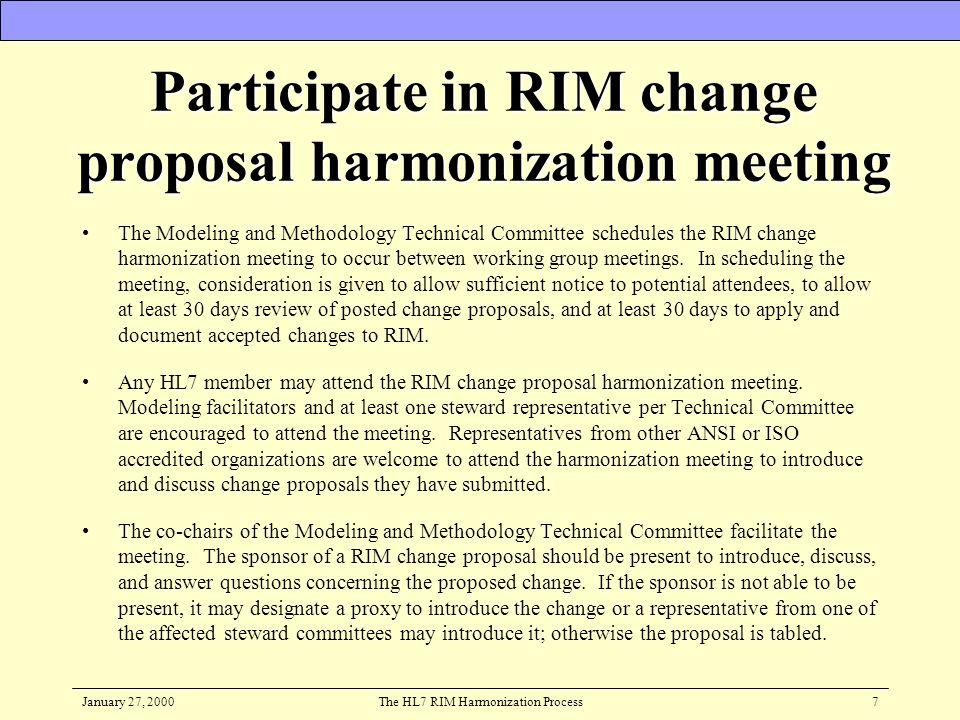 January 27, 2000The HL7 RIM Harmonization Process8 Harmonization Privileges
