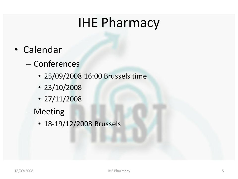 18/09/2008IHE Pharmacy5 Calendar – Conferences 25/09/ :00 Brussels time 23/10/ /11/2008 – Meeting 18-19/12/2008 Brussels