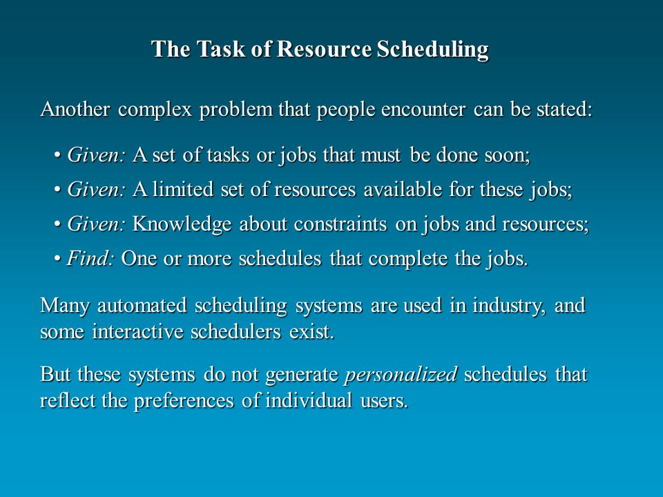 Many automated scheduling systems are used in industry, and some interactive schedulers exist.