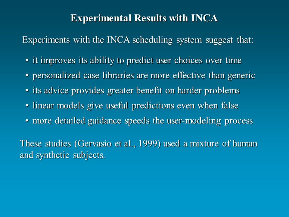 Experiments with the INCA scheduling system suggest that: it improves its ability to predict user choices over timeit improves its ability to predict user choices over time personalized case libraries are more effective than genericpersonalized case libraries are more effective than generic its advice provides greater benefit on harder problemsits advice provides greater benefit on harder problems linear models give useful predictions even when falselinear models give useful predictions even when false more detailed guidance speeds the user-modeling processmore detailed guidance speeds the user-modeling process These studies (Gervasio et al., 1999) used a mixture of human and synthetic subjects.