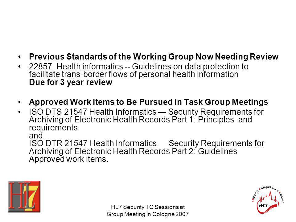 HL7 Security TC Sessions at Group Meeting in Cologne 2007 Previous Standards of the Working Group Now Needing Review 22857 Health informatics -- Guide