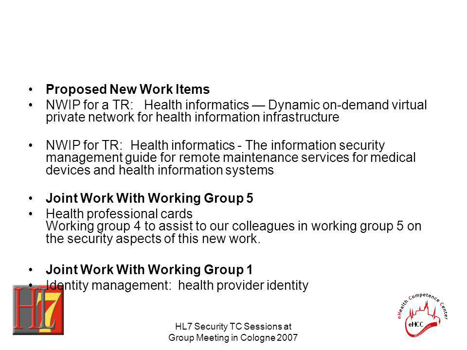 HL7 Security TC Sessions at Group Meeting in Cologne 2007 Proposed New Work Items NWIP for a TR: Health informatics Dynamic on-demand virtual private