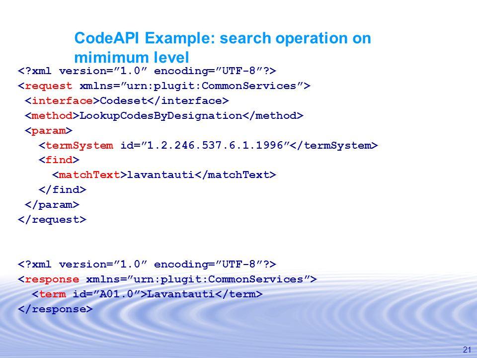 21 CodeAPI Example: search operation on mimimum level Codeset LookupCodesByDesignation lavantauti Lavantauti