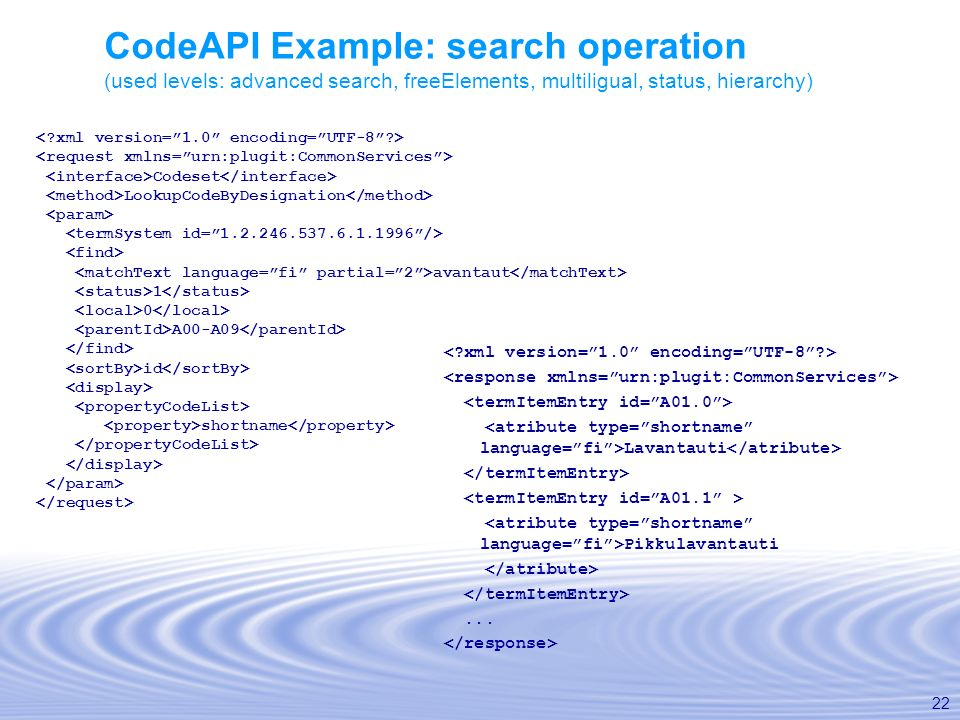 22 CodeAPI Example: search operation (used levels: advanced search, freeElements, multiligual, status, hierarchy) Codeset LookupCodeByDesignation avan