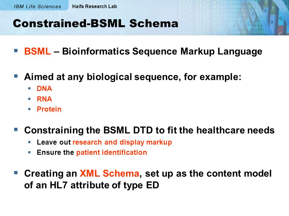 Haifa Research Lab Constrained-BSML Schema BSML – Bioinformatics Sequence Markup Language Aimed at any biological sequence, for example: DNA RNA Protein Constraining the BSML DTD to fit the healthcare needs Leave out research and display markup Ensure the patient identification Creating an XML Schema, set up as the content model of an HL7 attribute of type ED