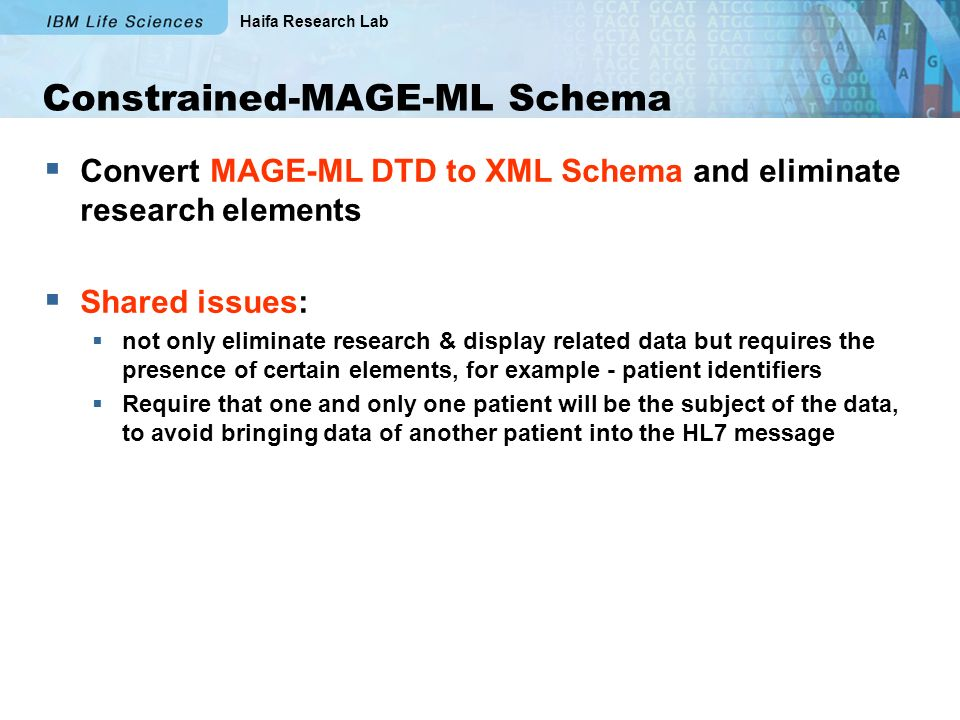 Haifa Research Lab Constrained-MAGE-ML Schema Convert MAGE-ML DTD to XML Schema and eliminate research elements Shared issues: not only eliminate research & display related data but requires the presence of certain elements, for example - patient identifiers Require that one and only one patient will be the subject of the data, to avoid bringing data of another patient into the HL7 message