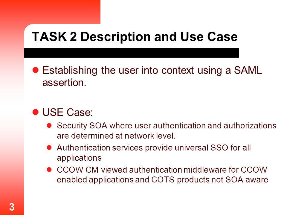 3 TASK 2 Description and Use Case Establishing the user into context using a SAML assertion.