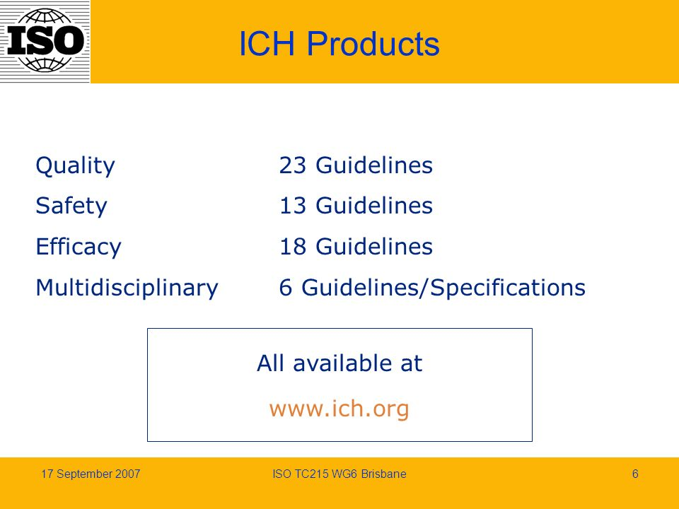 17 September 2007ISO TC215 WG6 Brisbane6 ICH Products Quality Safety Efficacy Multidisciplinary 23 Guidelines 13 Guidelines 18 Guidelines 6 Guidelines/Specifications All available at www.ich.org