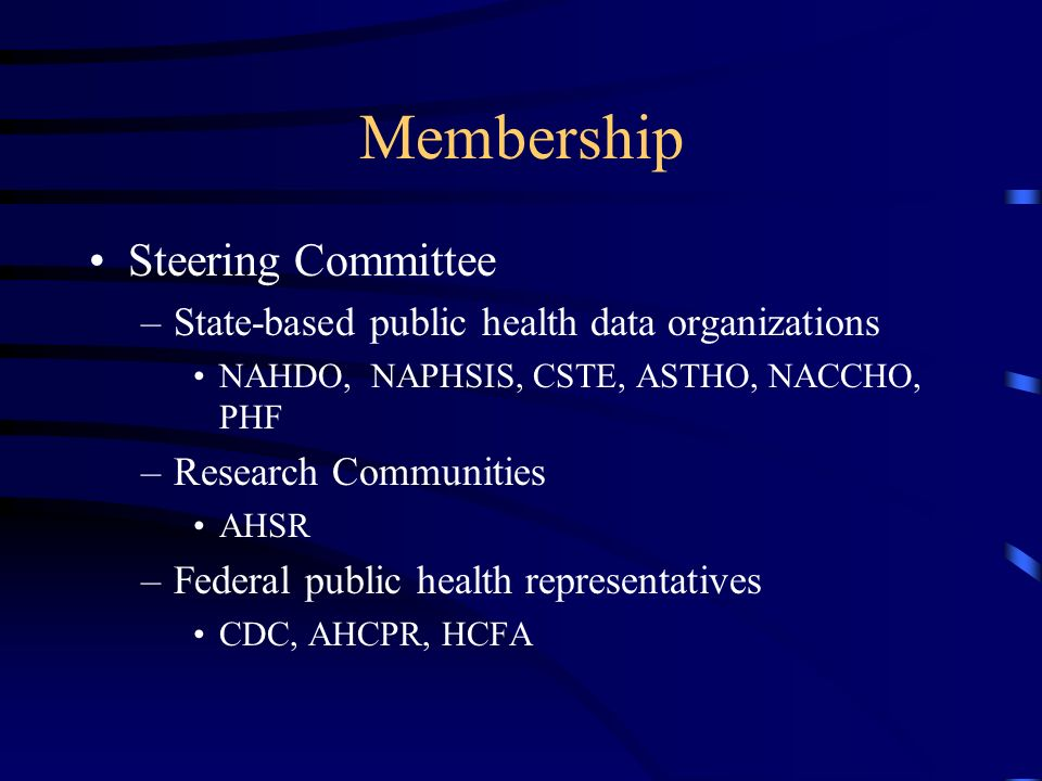 Membership Steering Committee –State-based public health data organizations NAHDO, NAPHSIS, CSTE, ASTHO, NACCHO, PHF –Research Communities AHSR –Federal public health representatives CDC, AHCPR, HCFA