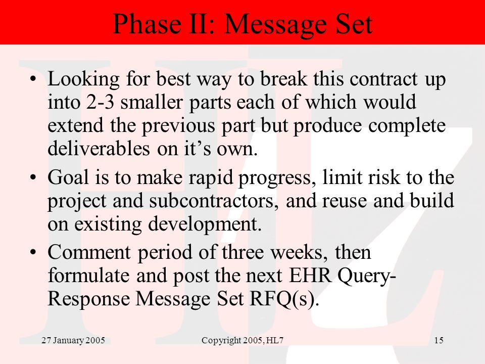 27 January 2005Copyright 2005, HL715 Phase II: Message Set Looking for best way to break this contract up into 2-3 smaller parts each of which would e