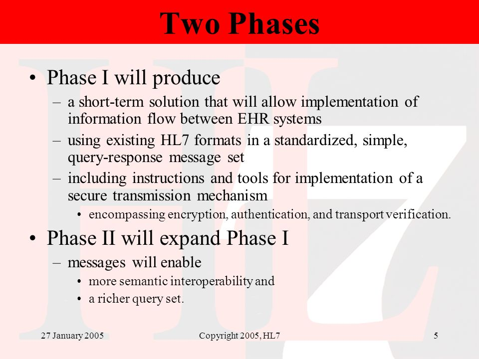 27 January 2005Copyright 2005, HL75 Two Phases Phase I will produce –a short-term solution that will allow implementation of information flow between