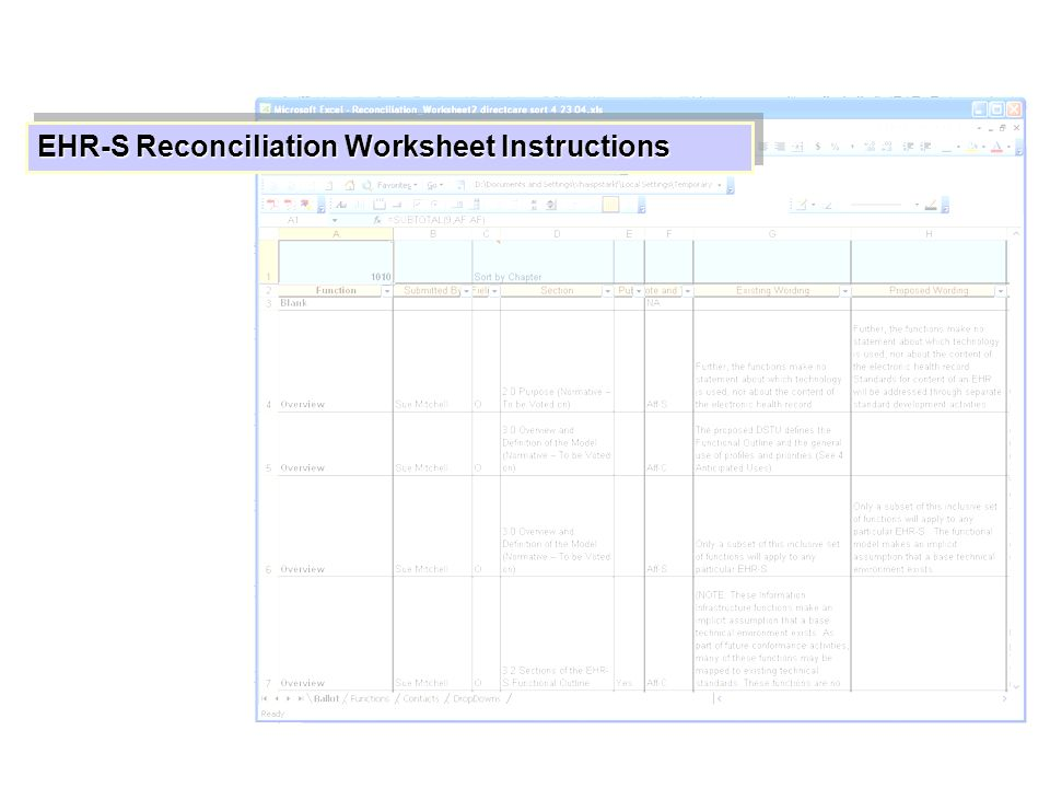 EHR-S Reconciliation Worksheet Instructions