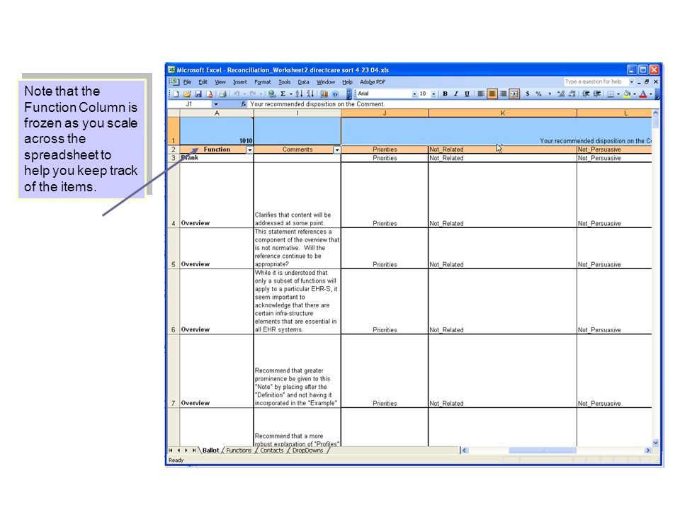 Note that the Function Column is frozen as you scale across the spreadsheet to help you keep track of the items.