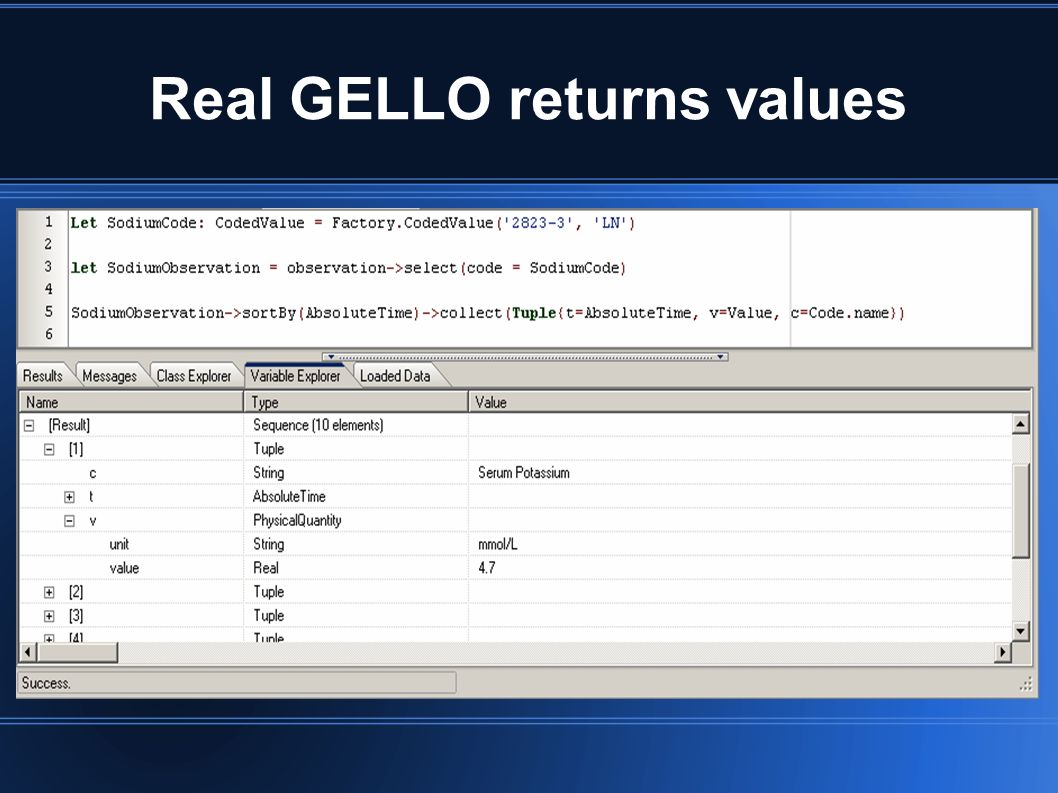 Real GELLO returns values