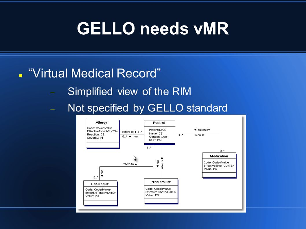 GELLO needs vMR Virtual Medical Record Simplified view of the RIM Not specified by GELLO standard