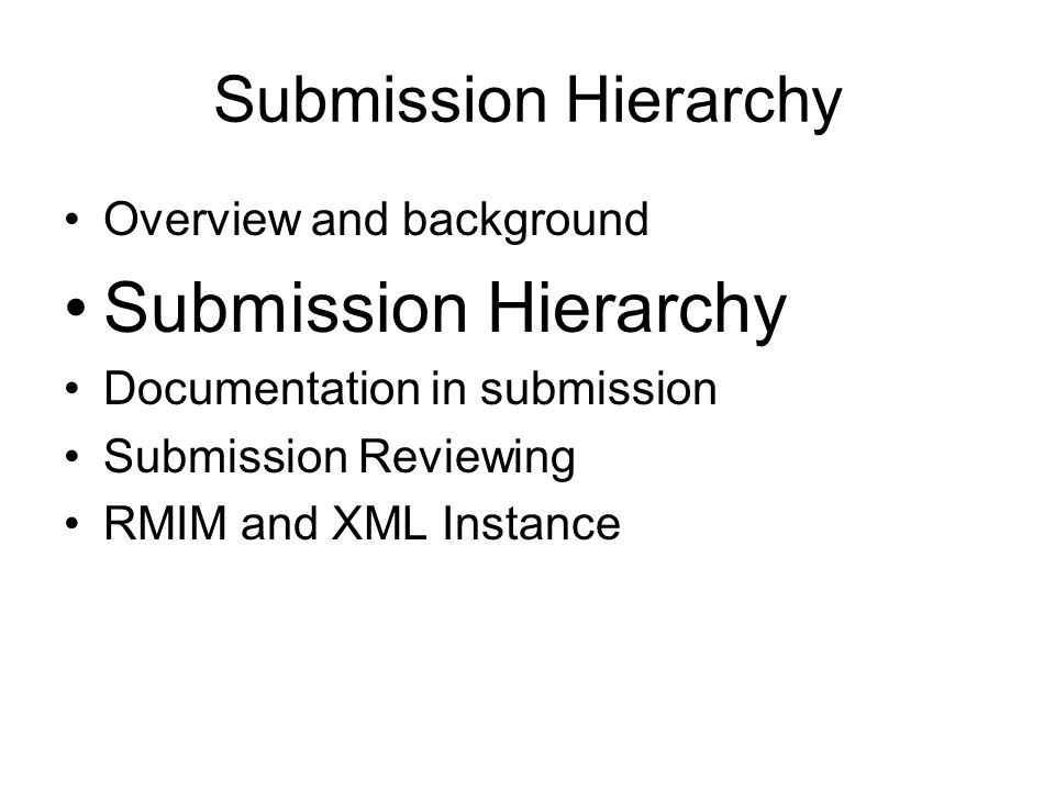 Submission Hierarchy Overview and background Submission Hierarchy Documentation in submission Submission Reviewing RMIM and XML Instance