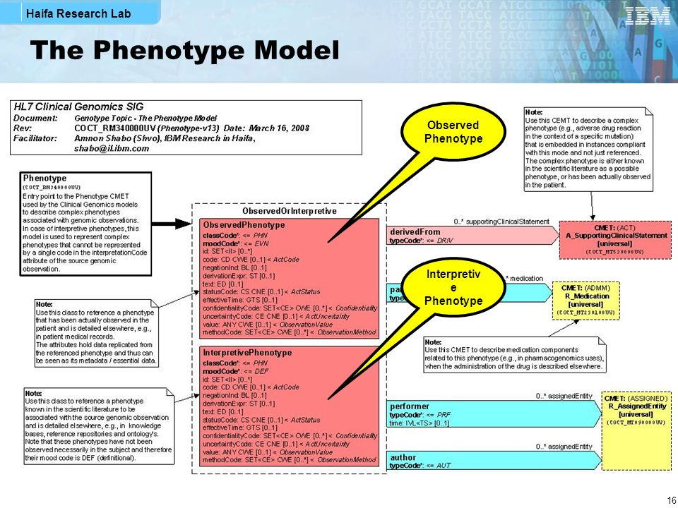 Haifa Research Lab 16 The Phenotype Model Observed Phenotype Interpretiv e Phenotype