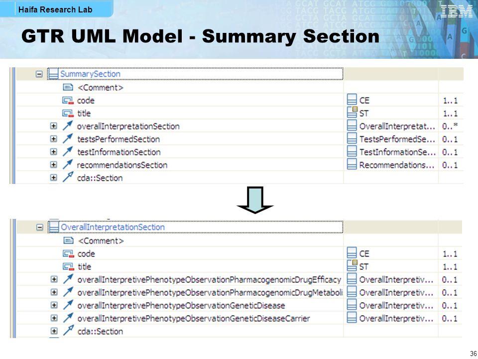Haifa Research Lab 36 GTR UML Model - Summary Section