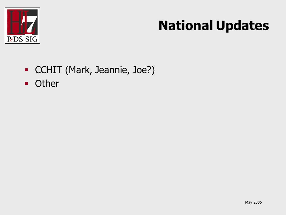 May 2006 National Updates CCHIT (Mark, Jeannie, Joe?) Other