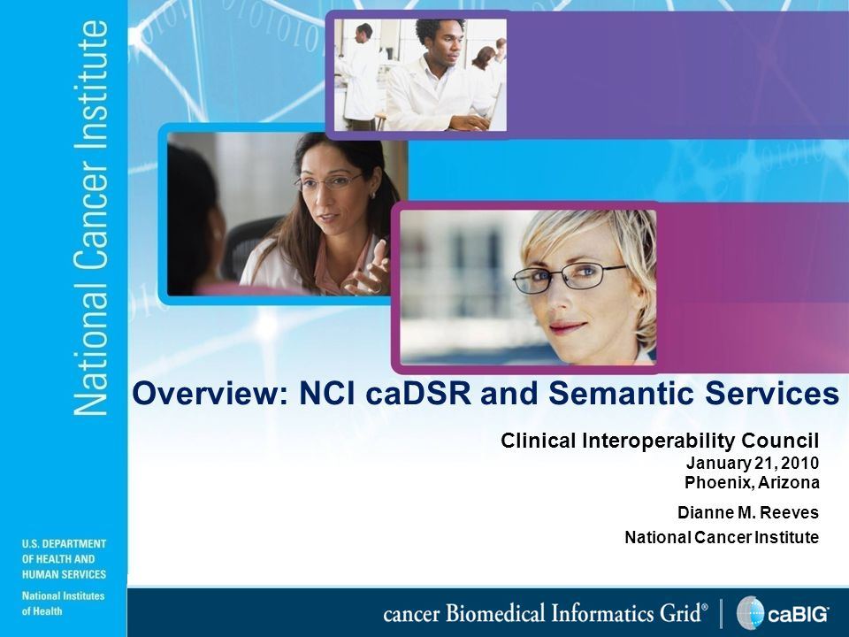 1 Clinical Interoperability Council January 21, 2010 Phoenix, Arizona Dianne M. Reeves National Cancer Institute Overview: NCI caDSR and Semantic Serv