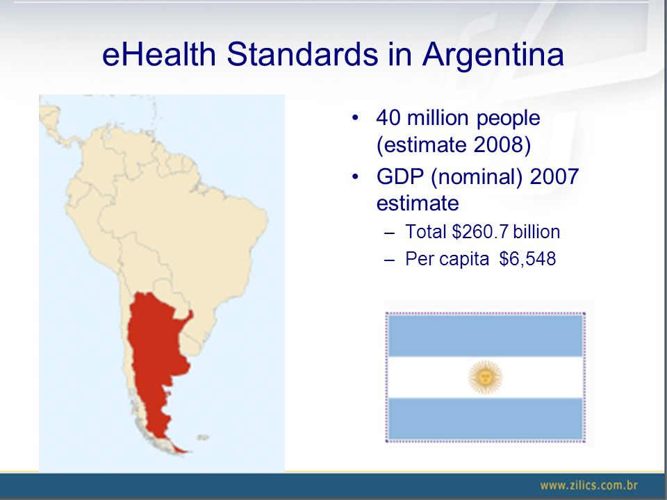 eHealth Standards in Argentina 40 million people (estimate 2008) GDP (nominal) 2007 estimate –Total $260.7 billion –Per capita $6,548