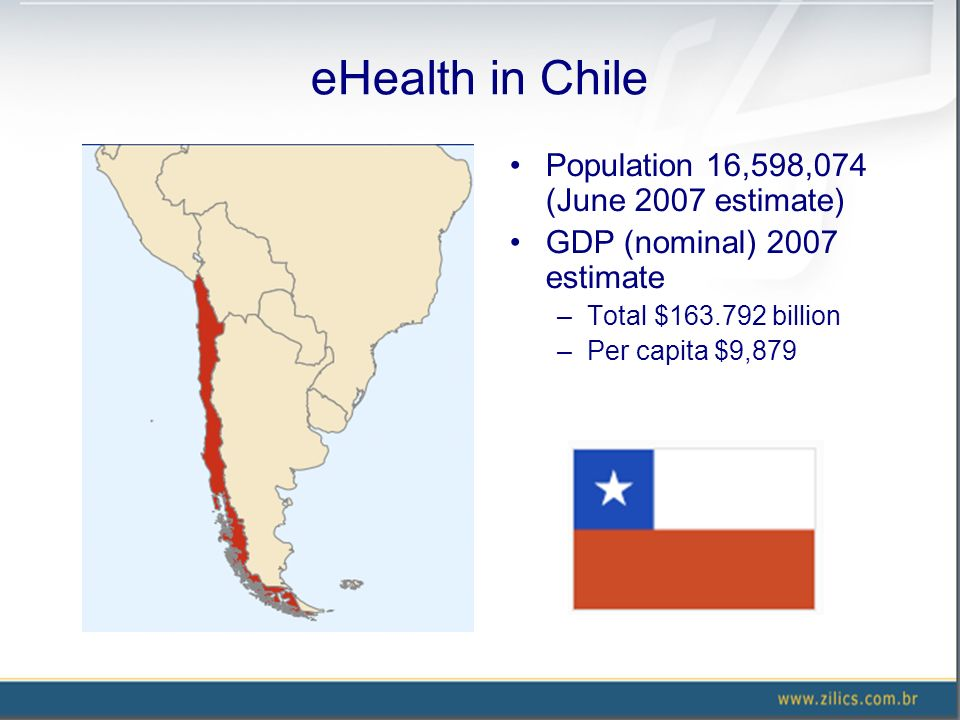 eHealth in Chile Population 16,598,074 (June 2007 estimate) GDP (nominal) 2007 estimate –Total $163.792 billion –Per capita $9,879