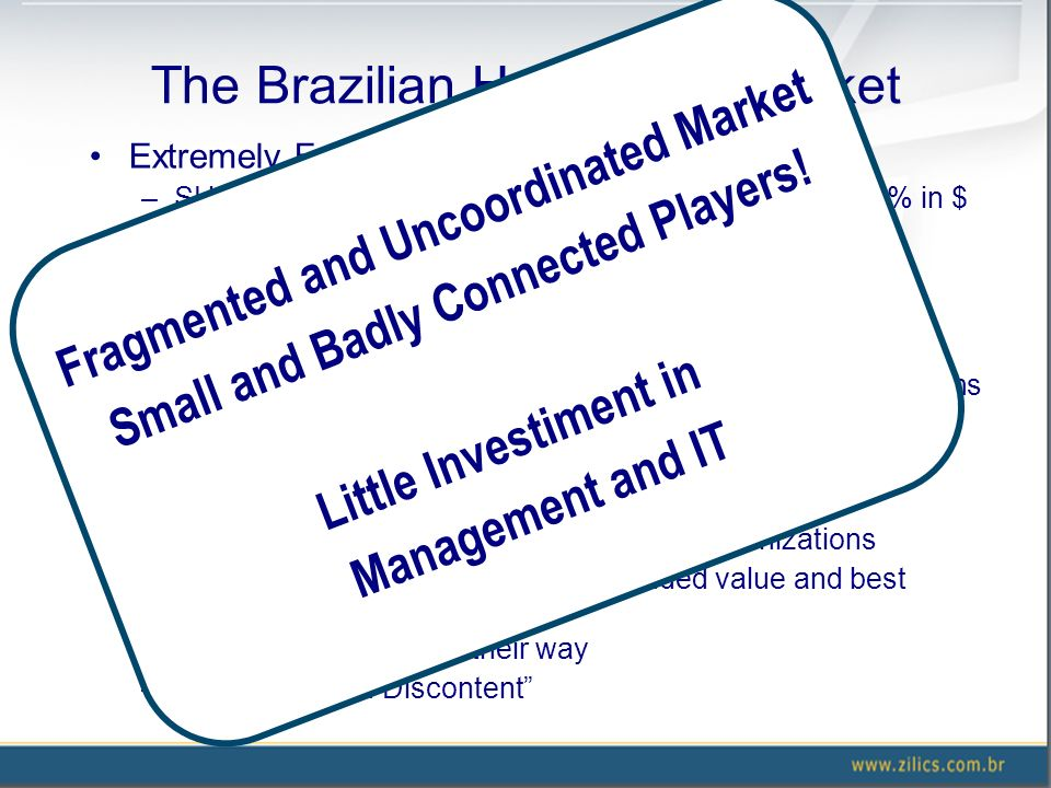 The Brazilian Healthcare Market Extremely Fragmented Market: ~ U$ 90B/year –SUS is the major Payer: ~ 66% in volume and some 50% in $ –190M inhabitant