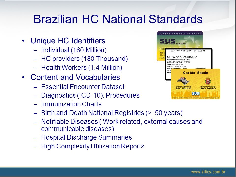 Brazilian HC National Standards Unique HC Identifiers –Individual (160 Million) –HC providers (180 Thousand) –Health Workers (1.4 Million) Content and Vocabularies –Essential Encounter Dataset –Diagnostics (ICD-10), Procedures –Immunization Charts –Birth and Death National Registries (> 50 years) –Notifiable Diseases ( Work related, external causes and communicable diseases) –Hospital Discharge Summaries –High Complexity Utilization Reports