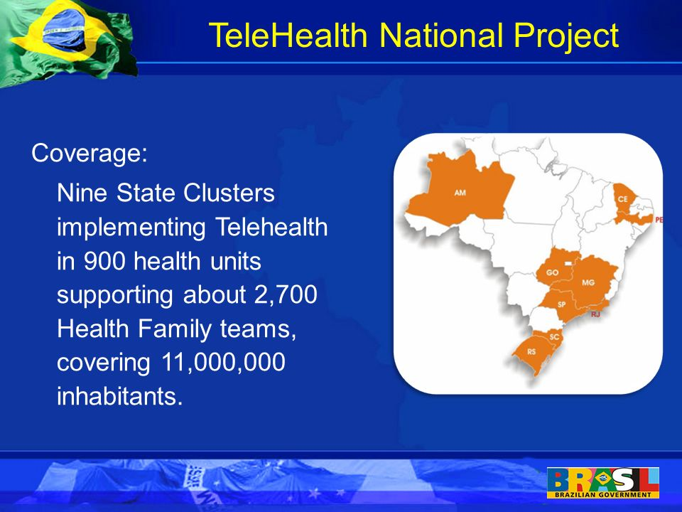 Coverage: Nine State Clusters implementing Telehealth in 900 health units supporting about 2,700 Health Family teams, covering 11,000,000 inhabitants.