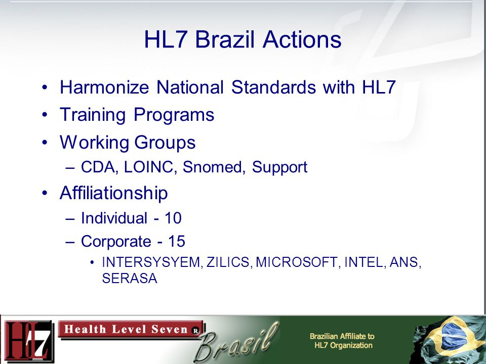 HL7 Brazil Actions Harmonize National Standards with HL7 Training Programs Working Groups –CDA, LOINC, Snomed, Support Affiliationship –Individual - 10 –Corporate - 15 INTERSYSYEM, ZILICS, MICROSOFT, INTEL, ANS, SERASA