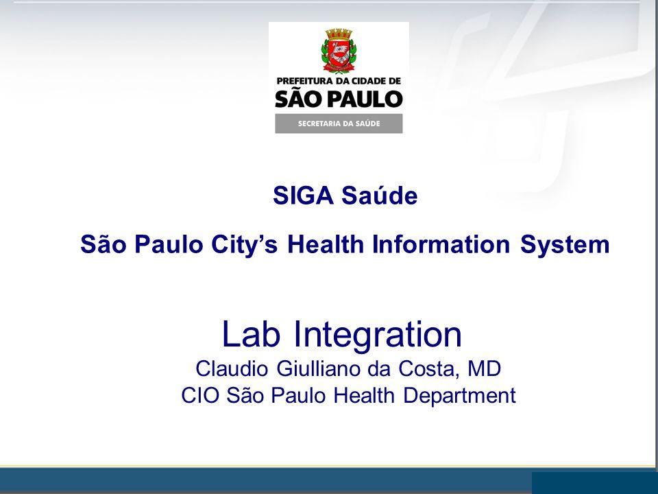 SIGA Saúde São Paulo Citys Health Information System Lab Integration Claudio Giulliano da Costa, MD CIO São Paulo Health Department