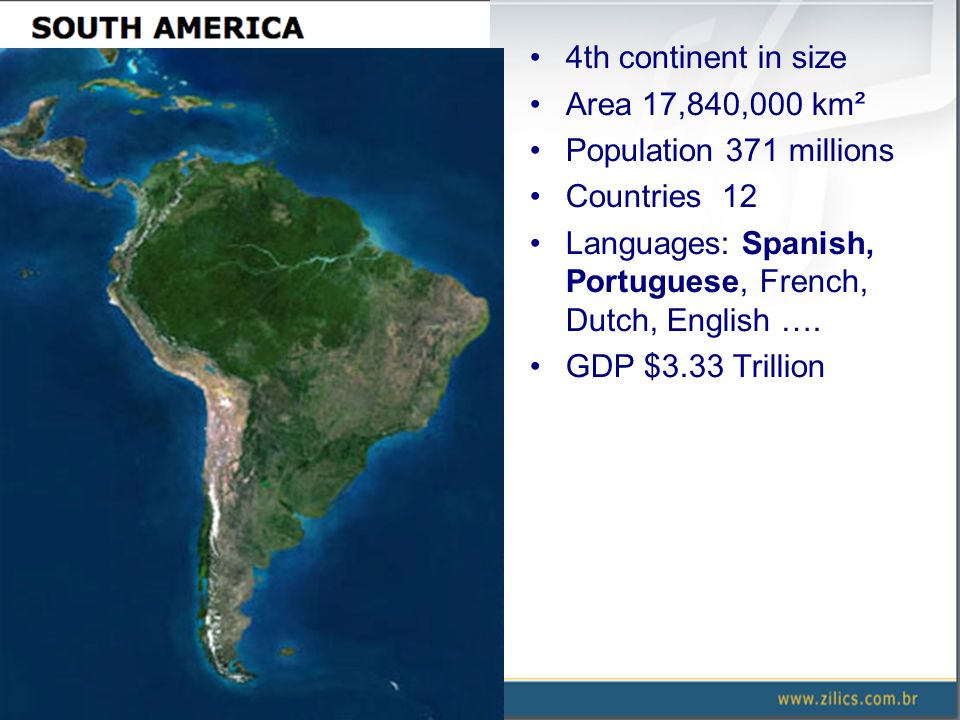 4th continent in size Area 17,840,000 km² Population 371 millions Countries 12 Languages: Spanish, Portuguese, French, Dutch, English …. GDP $3.33 Tri